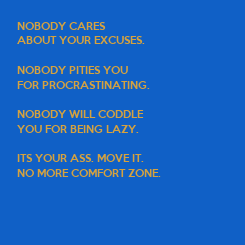 Poster: NOBODY CARES  ABOUT YOUR EXCUSES.  NOBODY PITIES YOU  FOR PROCRASTINATING.  NOBODY WILL CODDLE  YOU FOR BEING LAZY.  ITS YOUR ASS. MOVE IT. NO MORE COMFORT ZONE.