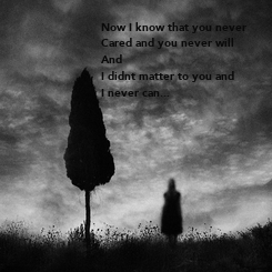 Poster: Now I know that you never Cared and you never will And I didnt matter to you and I never can...
