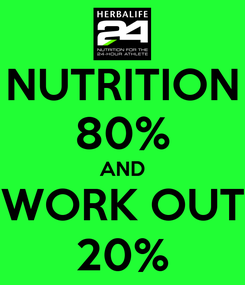 Poster: NUTRITION 80% AND WORK OUT 20%