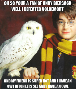 Poster: OH SO YOUR A FAN OF ANDY BIERSACK WELL I DEFEATED VOLDEMORT  AND MY FRIEND IS SUPER HOT AND I HAVE AN OWL BITCH LETS SEE ANDY HAVE AN