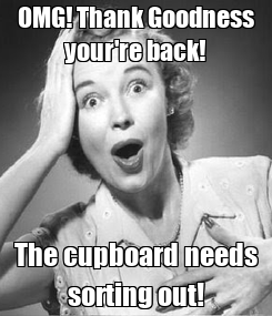 Poster: OMG! Thank Goodness your're back! The cupboard needs sorting out!