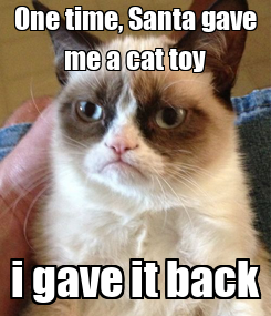 Poster: One time, Santa gave me a cat toy i gave it back