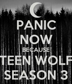 Poster: PANIC NOW BECAUSE TEEN WOLF SEASON 3