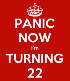 Poster: PANIC NOW I'm TURNING 22