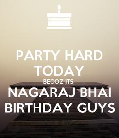 Poster: PARTY HARD TODAY BECOZ ITS  NAGARAJ BHAI BIRTHDAY GUYS