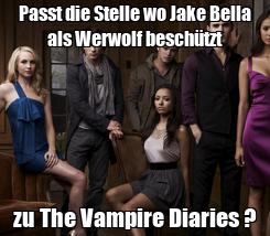 Poster: Passt die Stelle wo Jake Bella als Werwolf beschützt zu The Vampire Diaries ?