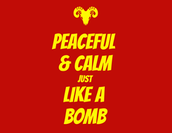 Poster: PEACEFUL  & CALM JUST LIKE A  BOMB