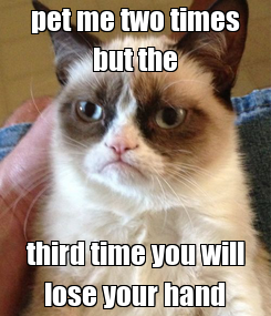 Poster: pet me two times but the third time you will lose your hand