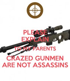 Poster: PLEASE EXPLAIN TO MY PARENTS CRAZED GUNMEN ARE NOT ASSASSINS