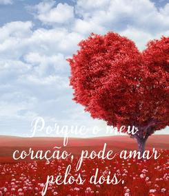 Poster: Porque o meu coração,  pode amar pelos dois.