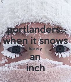 Poster: portlanders  when it snows barely an inch