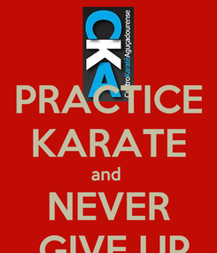 Poster: PRACTICE KARATE and  NEVER  GIVE UP