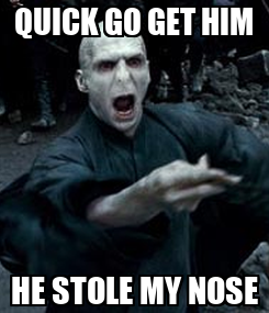 Poster: QUICK GO GET HIM HE STOLE MY NOSE