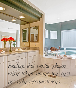 Poster: Realize that rental photos  were taken under the best  possible circumstances.
