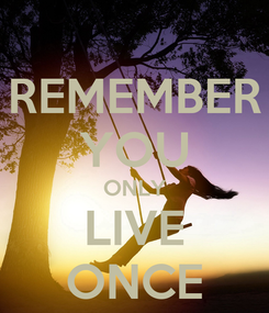 Poster: REMEMBER YOU ONLY LIVE ONCE