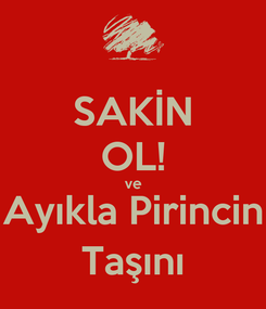 Poster: SAKİN OL! ve Ayıkla Pirincin Taşını