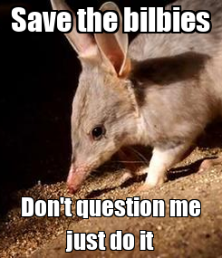 Poster: Save the bilbies Don't question me just do it