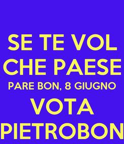 Poster: SE TE VOL CHE PAESE PARE BON, 8 GIUGNO VOTA PIETROBON