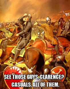 Poster:  SEE THOSE GUYS, CLARENCE?    CASUALS, ALL OF THEM.