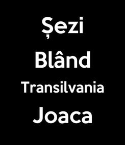 Poster: Șezi Blând Transilvania Joaca