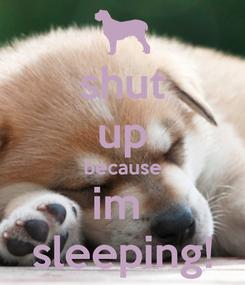 Poster: shut up because im  sleeping!