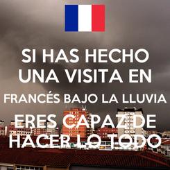 Poster: SI HAS HECHO UNA VISITA EN FRANCÉS BAJO LA LLUVIA ERES CAPAZ DE HACER LO TODO