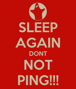 Poster: SLEEP AGAIN DONT NOT PING!!!