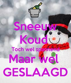 Poster: Sneeuw Koud  Toch wel spannend Maar wel  GESLAAGD