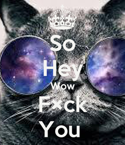 Poster: So Hey Wow F×ck You