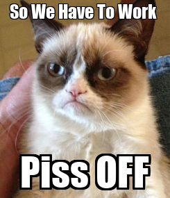 Poster: So We Have To Work  Piss OFF