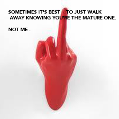 Poster: SOMETIMES IT'S BEST    TO JUST WALK  AWAY KNOWING YOU'RE THE MATURE ONE.  NOT ME .
