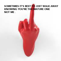 Poster: SOMETIMES IT'S BEST TO JUST WALK AWAY KNOWING YOU'RE THE MATURE ONE NOT ME .