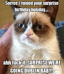 Poster: Sorree I ruined your surprise birthday holiday....  ahh fuck it, SURPRISE WE'RE GOING DUBLIN BABY!