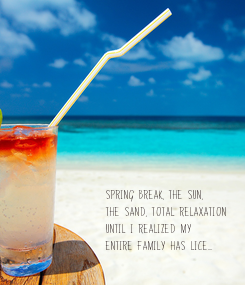 Poster: SPRING BREAK, THE SUN,  THE SAND, TOTAL RELAXATION  UNTIL I REALIZED MY  ENTIRE FAMILY HAS LICE....