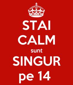Poster: STAI CALM sunt SINGUR pe 14