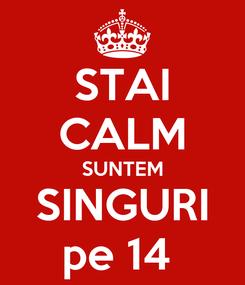Poster: STAI CALM SUNTEM SINGURI pe 14