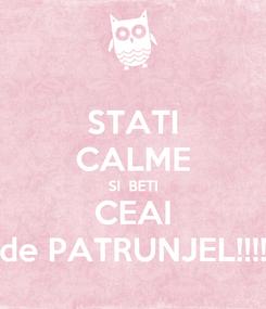 Poster: STATI CALME SI  BETI CEAI de PATRUNJEL!!!!