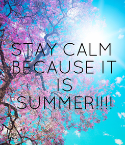 Poster: STAY CALM  BECAUSE IT  IS  SUMMER!!!!