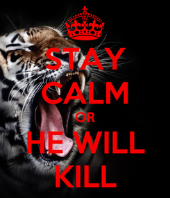 Poster: STAY CALM OR HE WILL KILL