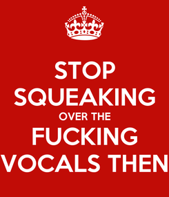 Poster: STOP SQUEAKING OVER THE FUCKING VOCALS THEN