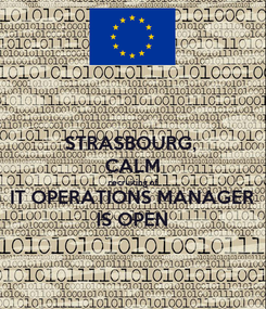 Poster: STRASBOURG,  CALM recruiting of IT OPERATIONS MANAGER IS OPEN