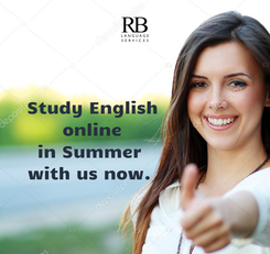 Poster: Study English                online                in Summer                 with us now.