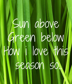 Poster: Sun above Green below How i love this  season so..