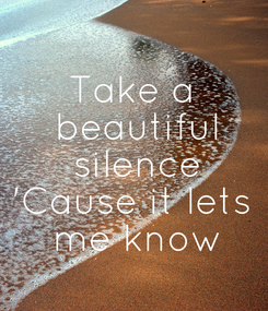 Poster: Take a  beautiful  silence 'Cause it lets  me know