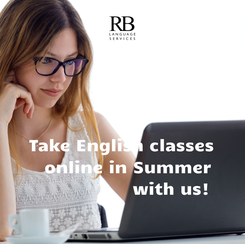 Poster:   Take English classes   online in Summer                  with us!