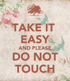 Poster: TAKE IT  EASY AND PLEASE DO NOT TOUCH