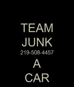 Poster: TEAM JUNK 219-508-4457 A CAR