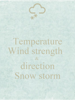 Poster: Temperature Wind strength   &  direction Snow storm