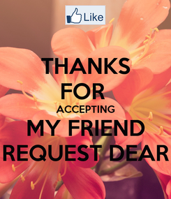 Poster: THANKS FOR  ACCEPTING MY FRIEND REQUEST DEAR