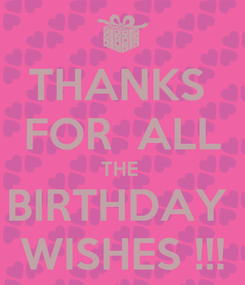 Poster: THANKS  FOR  ALL THE  BIRTHDAY  WISHES !!!